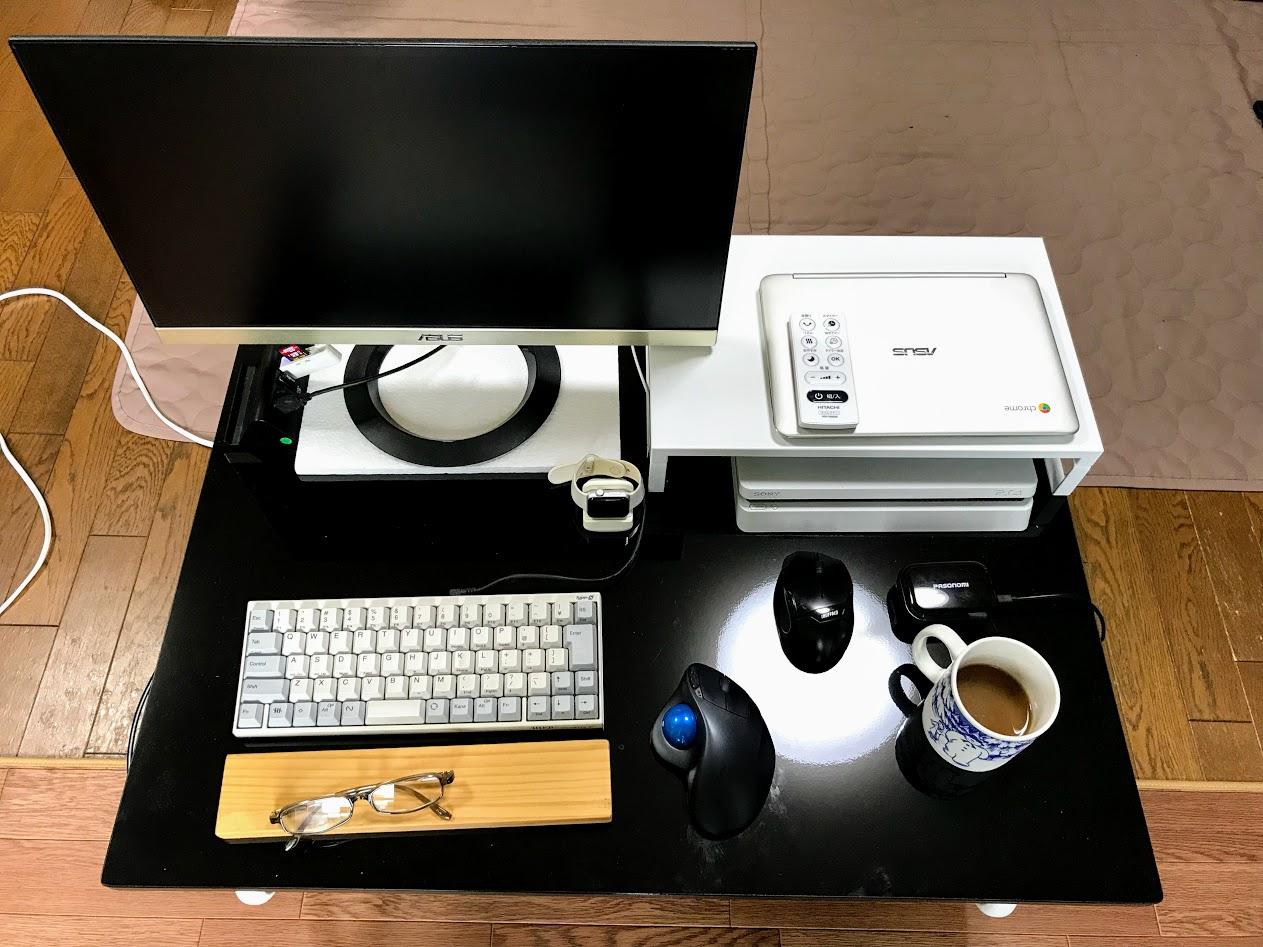 幅の広いキャスター付きローデスクでパソコン作業、姿勢が良くなったのアイキャッチ画像
